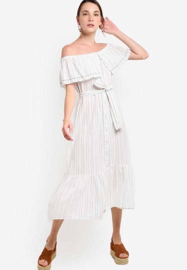 d27a80684e8 Летнее платье с открытыми плечами H M Летнее платье с открытыми плечами  Mango ...