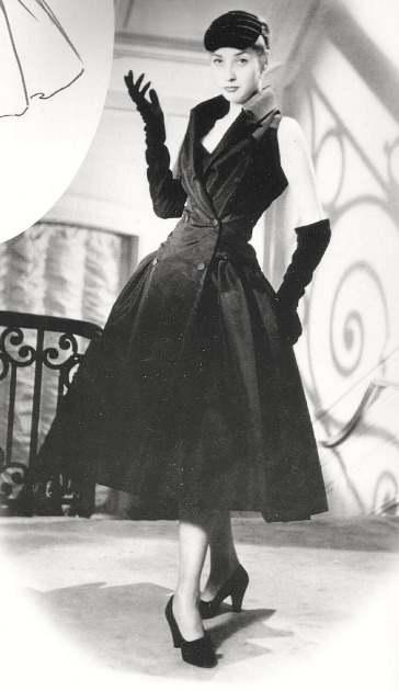 Renee Breton in satin dress 'Zelie' by Christian Dior, 1954 год