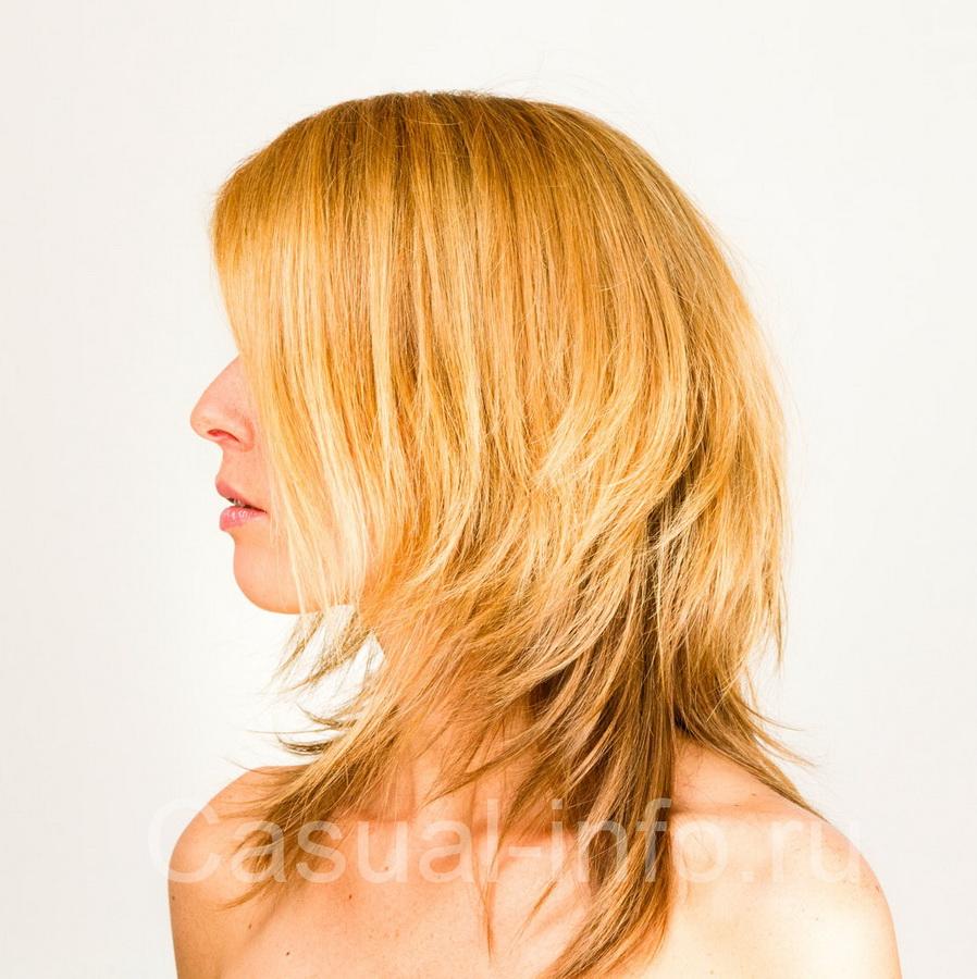 Каскад на жидкие длинные волосы
