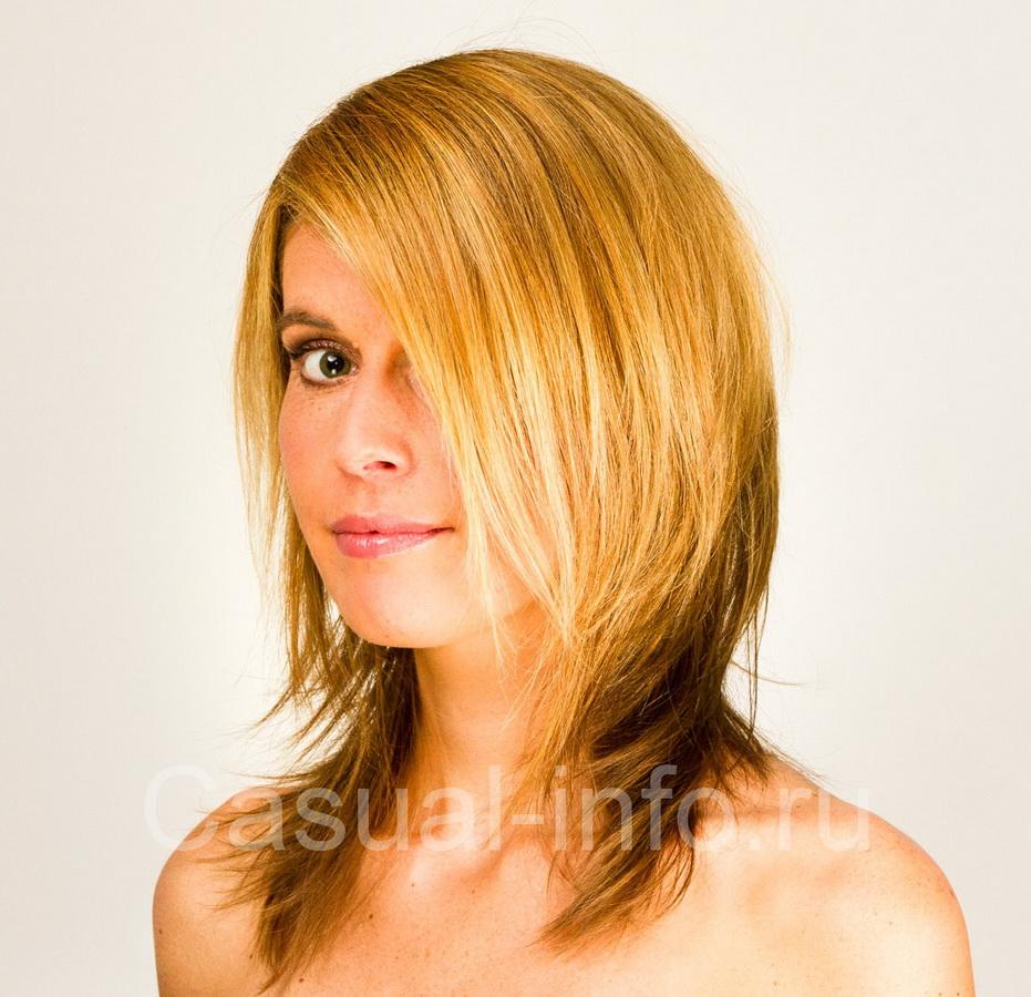 Стрижка лесенка средний волос фото