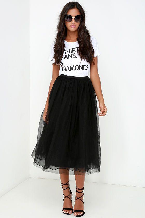 Пышная черная юбка из фатина