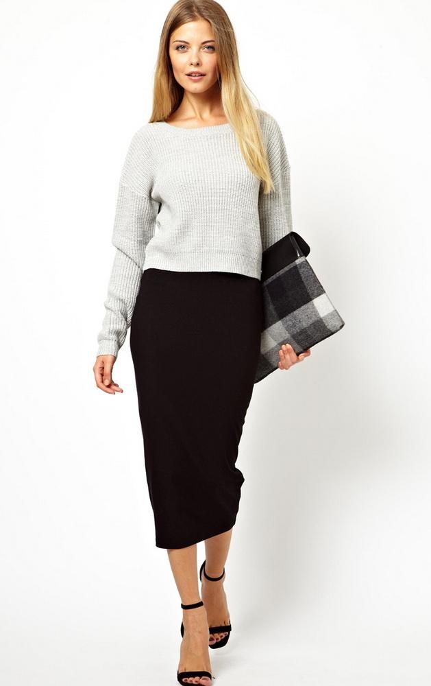С чем носить вязаную юбку зимой карандаш